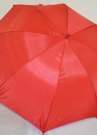 Детский подростковый зонт для девочки от 7 до 12 лет красный с...