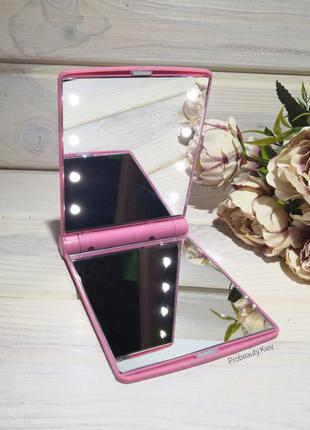 Зеркало складное косметическое для макияжа с led подсветкой pr...