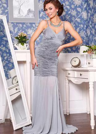 Вечернее платье облегающее длинное в пол, нарядное, шифоновое