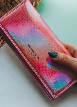 Сияющий кошелек клатч розовый