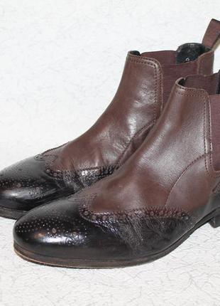 Кожаные ботинки броги/челси hugo boss orange 40 размер 26,5 см