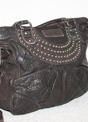 Стильная кожаная сумка bama германия,два вида ручек