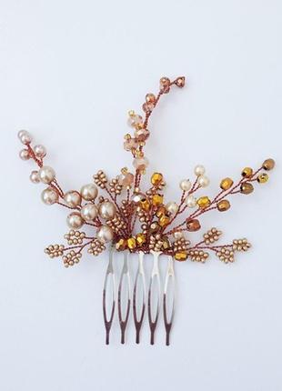 Золотой гребень в волосы ручной работы