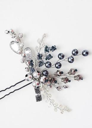 Серебряная шпилька в волосы ручной работы
