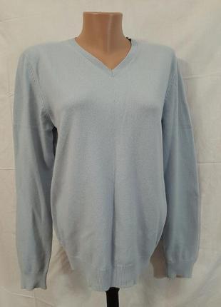 Кашемировый голубой свитер шерстяной джемпер h&m