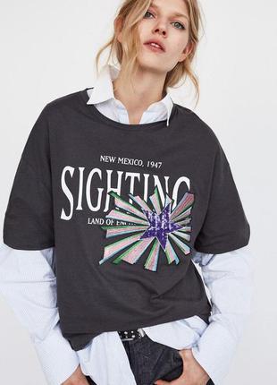 Крутая стильная модная футболка оверсайз с надписью, вышивкой ...