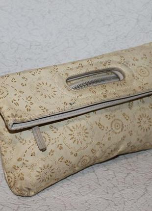 Симпатичная кожаная сумка клатч/трансформер в цветочный принт