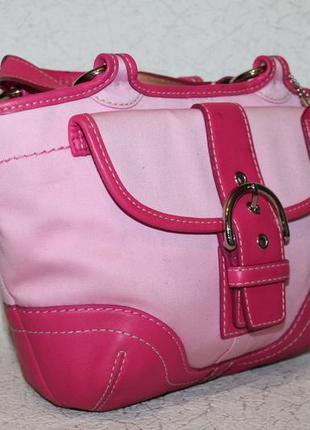 Стильная летняя сумка coach оригинал,кожа+ткань