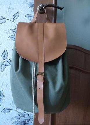 Брезентовый рюкзак с кожаной отделкой