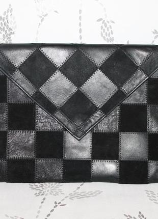 Большой кожаный клатч конверт в стиле пэчворк