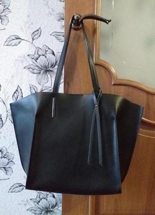Genuine leather (italy)  кожаная сумка-шоппер