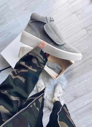 Nike fear of god - gray front flap mid-top шикарные мужские кр...