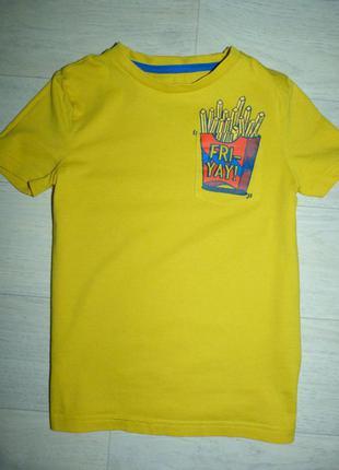 Желтая футболка f&f 7-8 лет