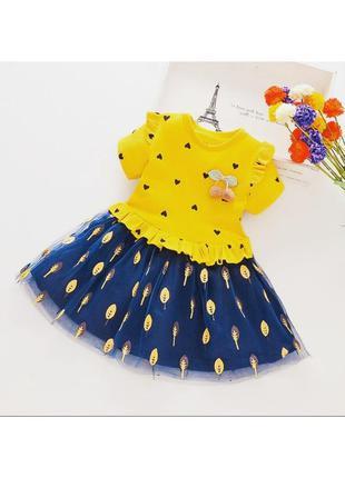 Платье красивое повседневное в садик с пышной юбкой на полного...