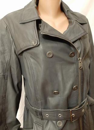 Натуральная кожа утепленная косуха удлинненная куртка  тренч п...
