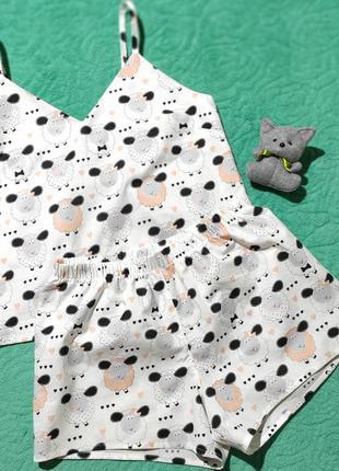 Женская хлопковая пижама с барашками