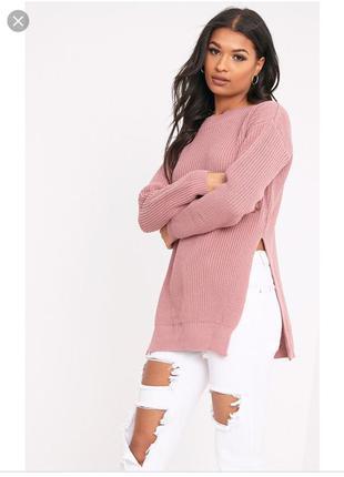 Пудровый удлиненный свитер  с разрезами по бокам, цвет пыльной...