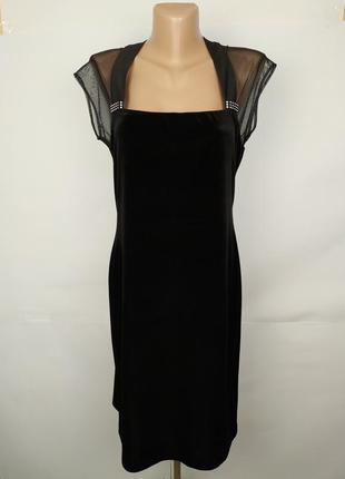 Платье шикарное вечернее велюровое с кокеткой в сеточку uk 10/...