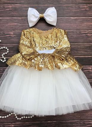Нарядное белое платье пайетки