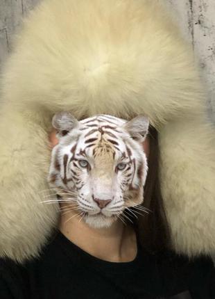 Шикарная зимняя шапка натуральный мех+натуральная кожа