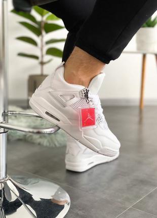 Men Air Jordan 4 Retro White Metallic Silver-Pure Platinum