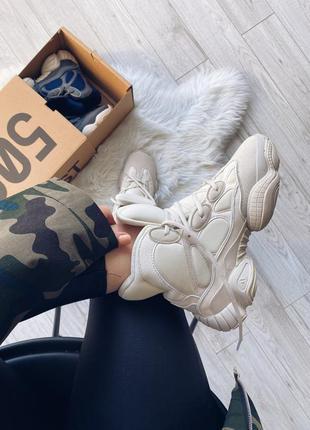Adidas yeezy 500 high blush шикарные женские кроссовки чёрные