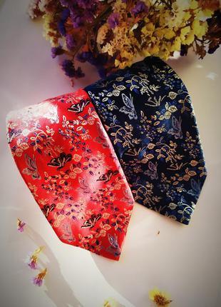 Идеальная пара лот набор комплект галстуков красный синий белы...