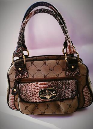 Супер стильная дизайнерская сумка под змеиную кожу тканевая ше...