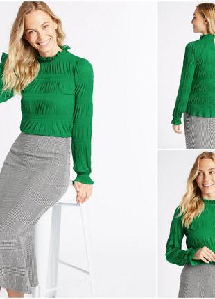 Нежная зеленая кофта блуза с длинным рукавом