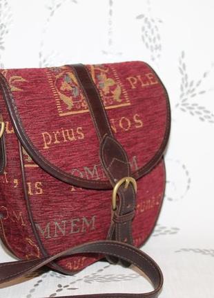 Стильная сумочка кроссбоди tanyard made in england кожа+ткань