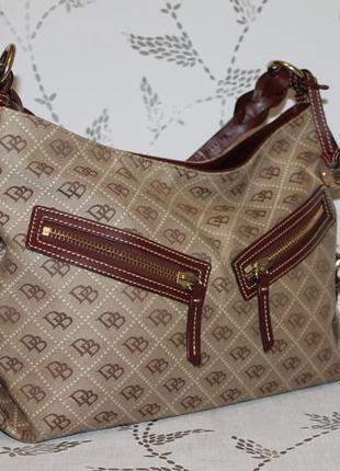 Dooney&bourke оригинальная сумка кожа+брендированая ткань