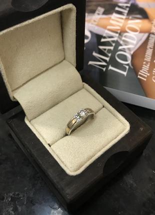 Серебряное кольцо с золотой вставкой. 925