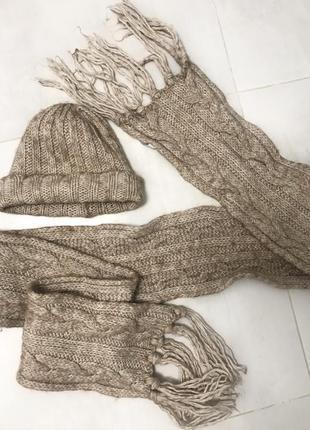 Набор шапка + шарф вязаный шерстяной