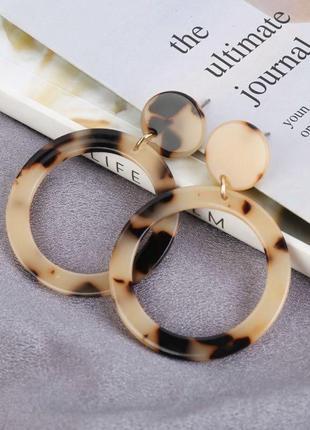 Серьги тигровые, сережки кольца, бижутерия
