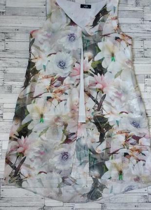 Блузка туника wallis женская шифон прозрачная с цветами
