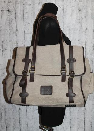 Большая сумка кожа+ткань natural flavor