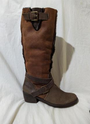 Ботинки сапоги высокие кожа замша мех овцы bronx оригинал