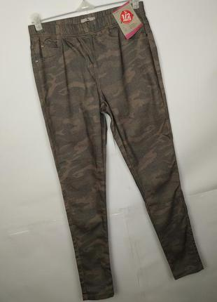 Джинсы брюки новые стрейчевые на резинке по пояс uk 12/40/m