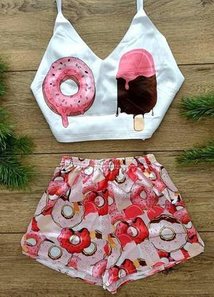 Пижама женская шелковая Мороженое и Пончик