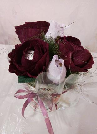 Сладкий букетик, цветы из конфет, чашка с цветами