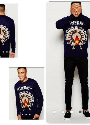 D-struct брендовый джемпер с индейкой, свитер на рождество,уни...