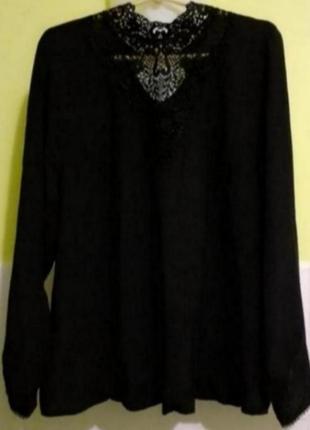 Чёрная блузка блуза с кружевом от marks&spencer