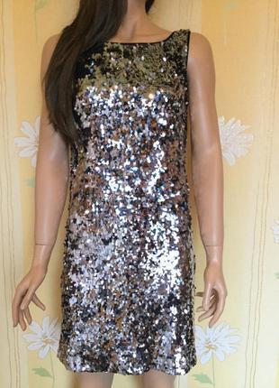 Платье вечернее в зеркальные пайетки biba размер 10