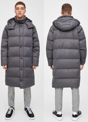 Стёганое длинное пальто- пуховик pull&bear модного кроя кокон ...