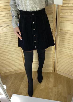Чёрная юбка трапеция из натуральной замши forever21
