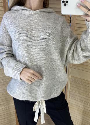 Шерстяной свитер с капюшоном худи laredoute