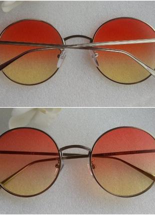 Новые стильные круглые очки с градиентом, оранжево-желтые