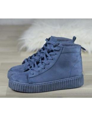 Синие женские ботинки, криперы, эко замша, кеды