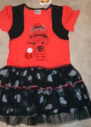 Платье tm nova красно-чёрное с девочкой