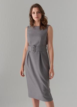 Платье футляр миди с поясом